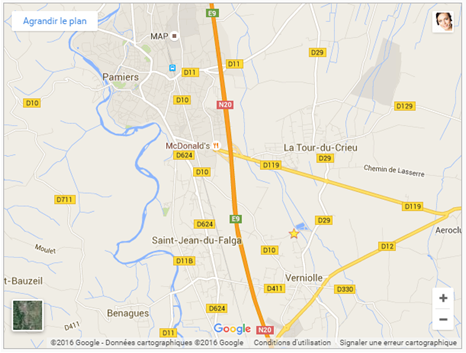 Google Map Verniolle Foix Pamiers Ariège
